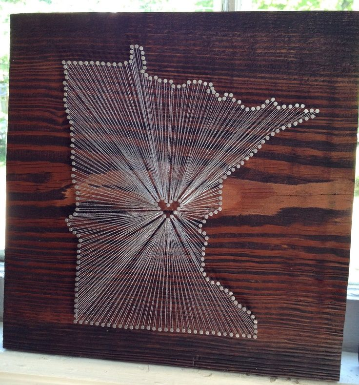 Wood Nail Art: Minnesota Love String Art. I'm In L♥ve With This Idea