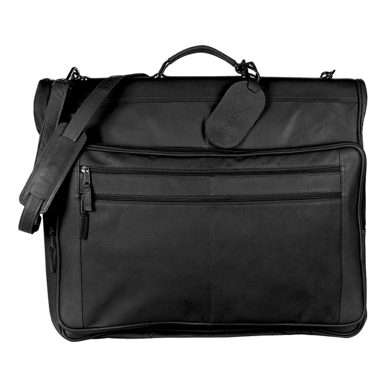Black Travel Garment Bag In Colombian Leather.