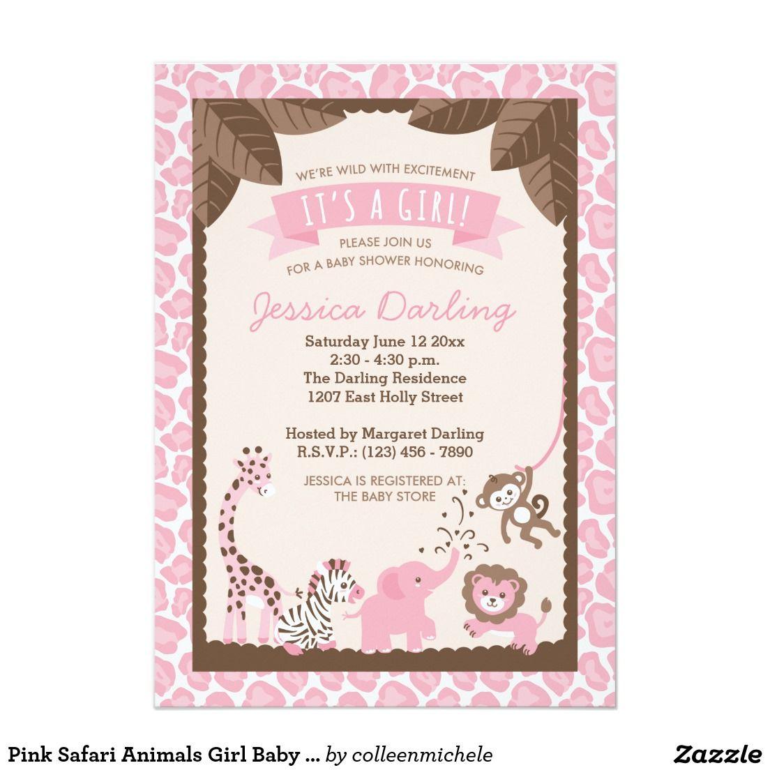 Safari animals girl baby shower invitations pink safari animals girl baby shower invitations filmwisefo Image collections