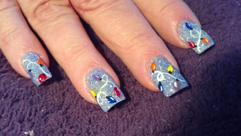 Christmas lights blue Customized nails by Rosemary Pinterest