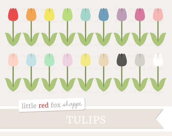 Tulip Clipart Flower Clip Art Spring Garden Easter Icon Cute Digital Gr