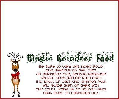 Reindeer food recipe and printable reindeer food magic reindeer magic reindeer food recipe 12 cup oatmeal 12 sugar 14 forumfinder Gallery
