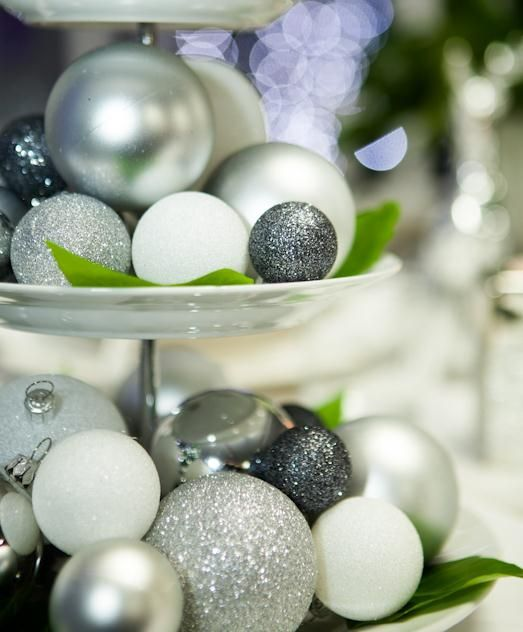 Create a sophisticated table centrepiece with Wonderland baubles in silver and white shades.