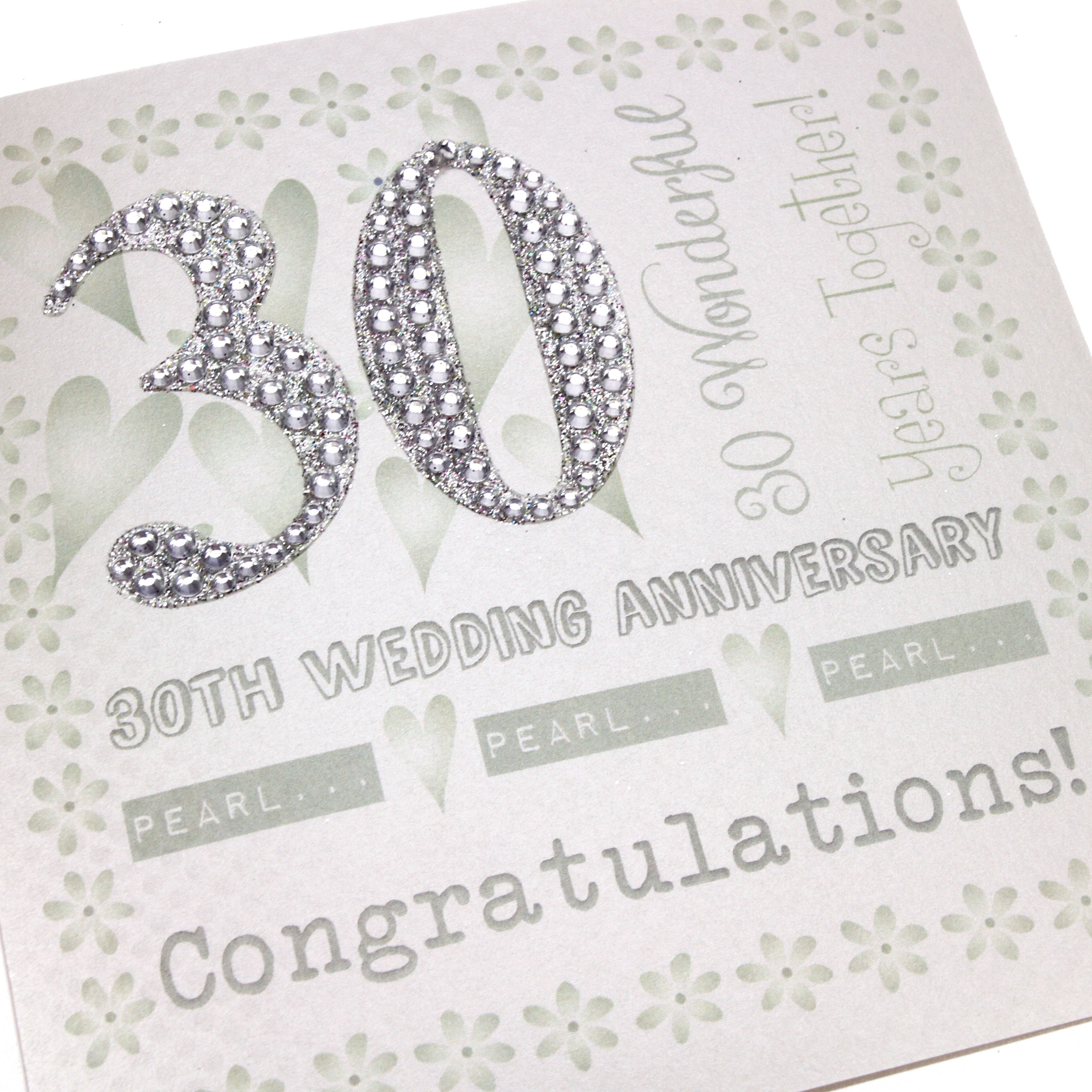 Handmade Pearl Wedding Anniversary Card 30 Years Glittery Diamante Numbers