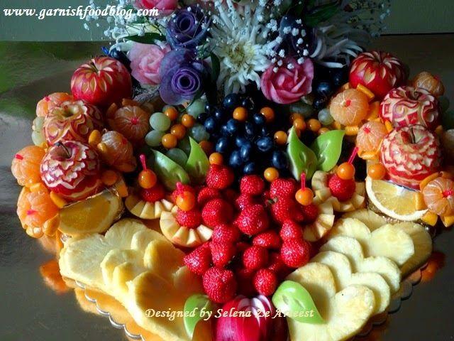 Fruit Carving Arrangements and Food Garnishes: Flower Wedding Monogram In Fruit Display