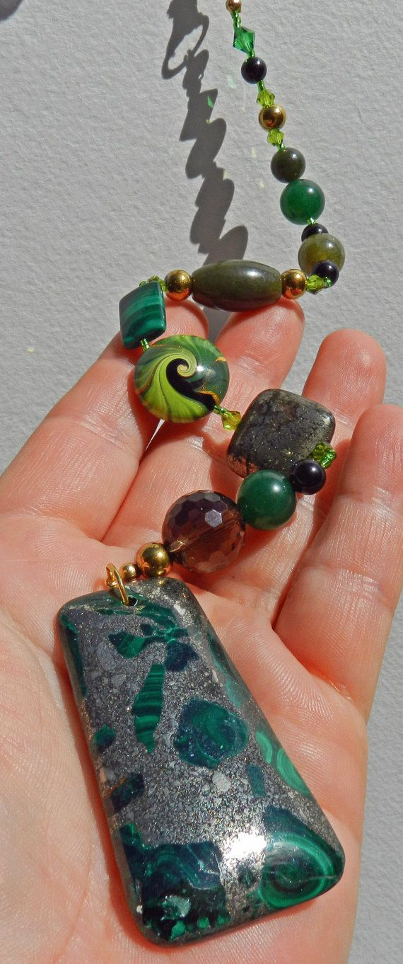 Abundance Gemstone Beaded Dangle/Charm  OOAK by EarthStarStudios (alter or window charm)