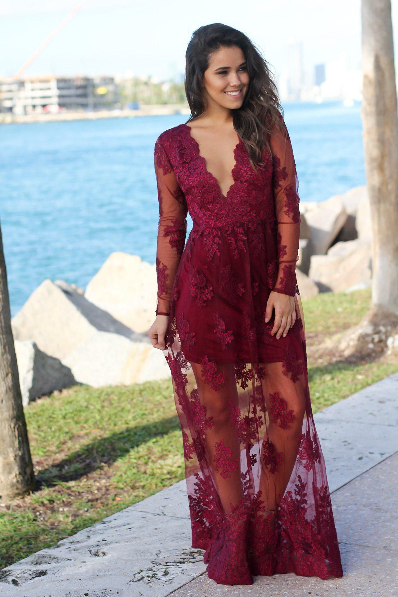 Wine Embroidered Maxi Dress With Long Sleeves Maxi Dress Party Maxi Dress Trendy Dresses