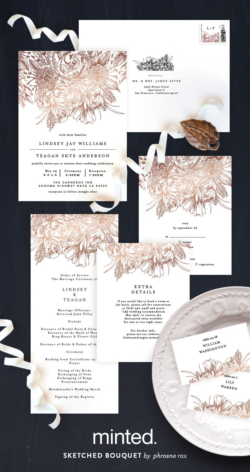 sketched bouquet customizable foil pressed wedding invitations in