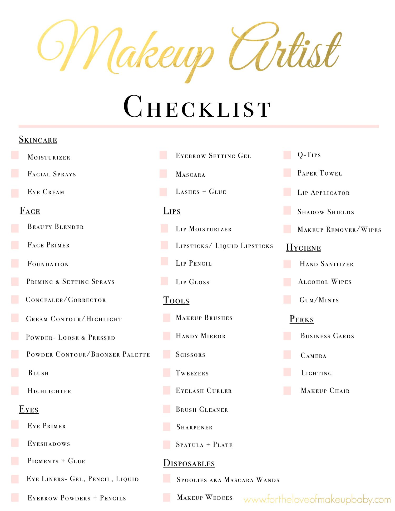 Makeup Artist Kit Checklist www.fortheloveofmakeupbaby