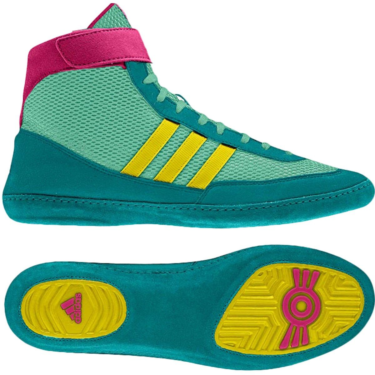 247f6c5052f9 adidas Combat Speed 4 Wrestling Shoes - Blast Emerald Vivid Yellow  Blast  Pink- size 7