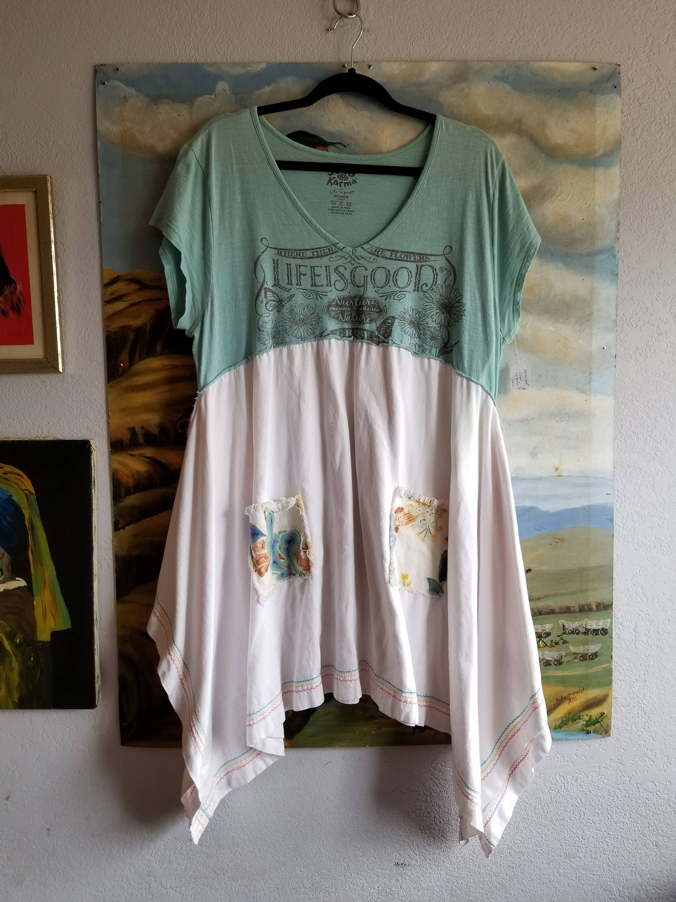 XL Life is Good Up-Cycled T-Shirt Dress or Tunic - Whimsical