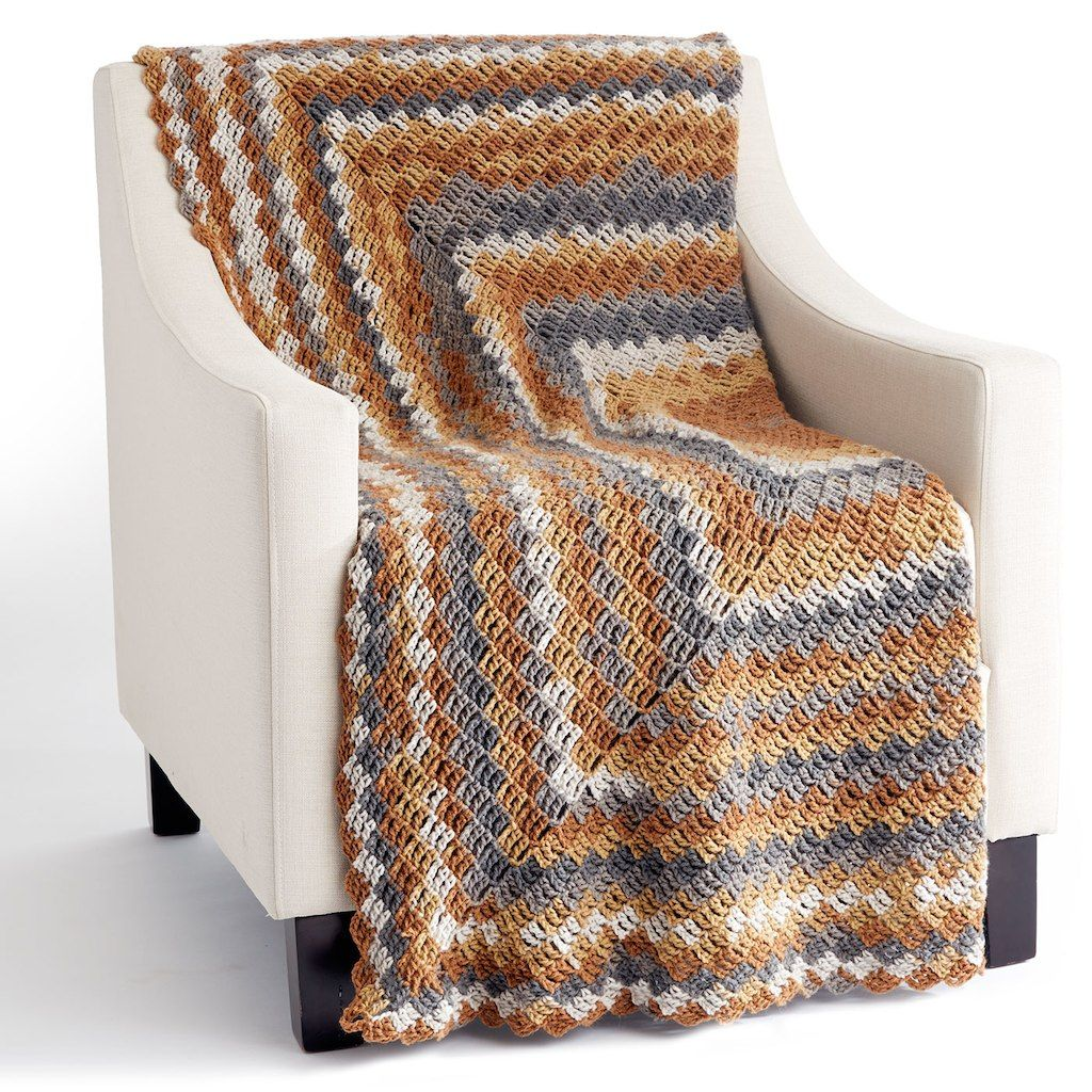 Caron® Big Cakes™ Stacking Blocks Crochet Blanket in Tiramisu