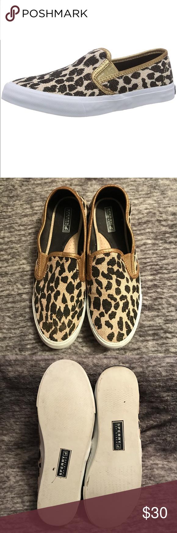 Sperry Seaside Luxe Gold Leopard Print