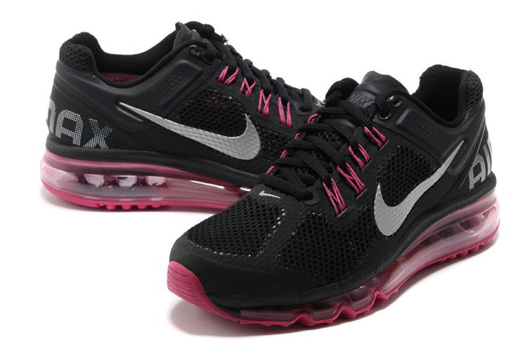Nike Air Max 2013 Womens Black Dark Grey Fusion Pink Metallic Silver 555753  001