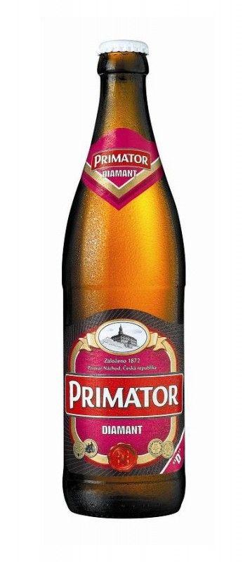 Cerveja Primátor Diamant, estilo Bohemian Pilsener, produzida por Pivovar Náchod a.s., República Tcheca. 4% ABV de álcool.