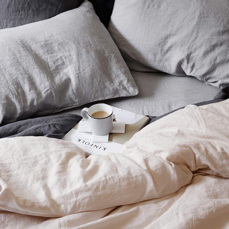 Linen Duvet Cover Sets Queen White