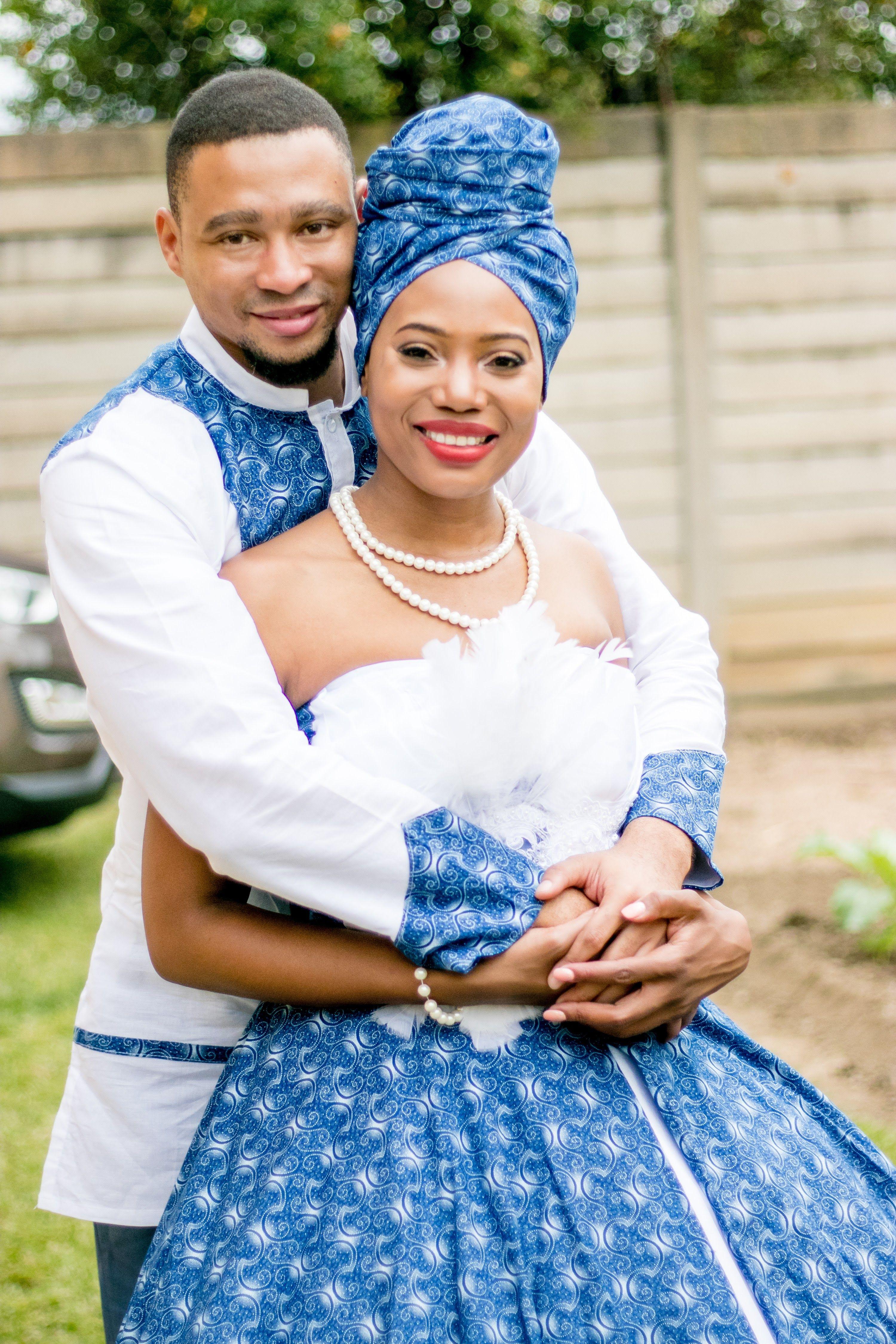 South African wedding dress, Tshwana African couple