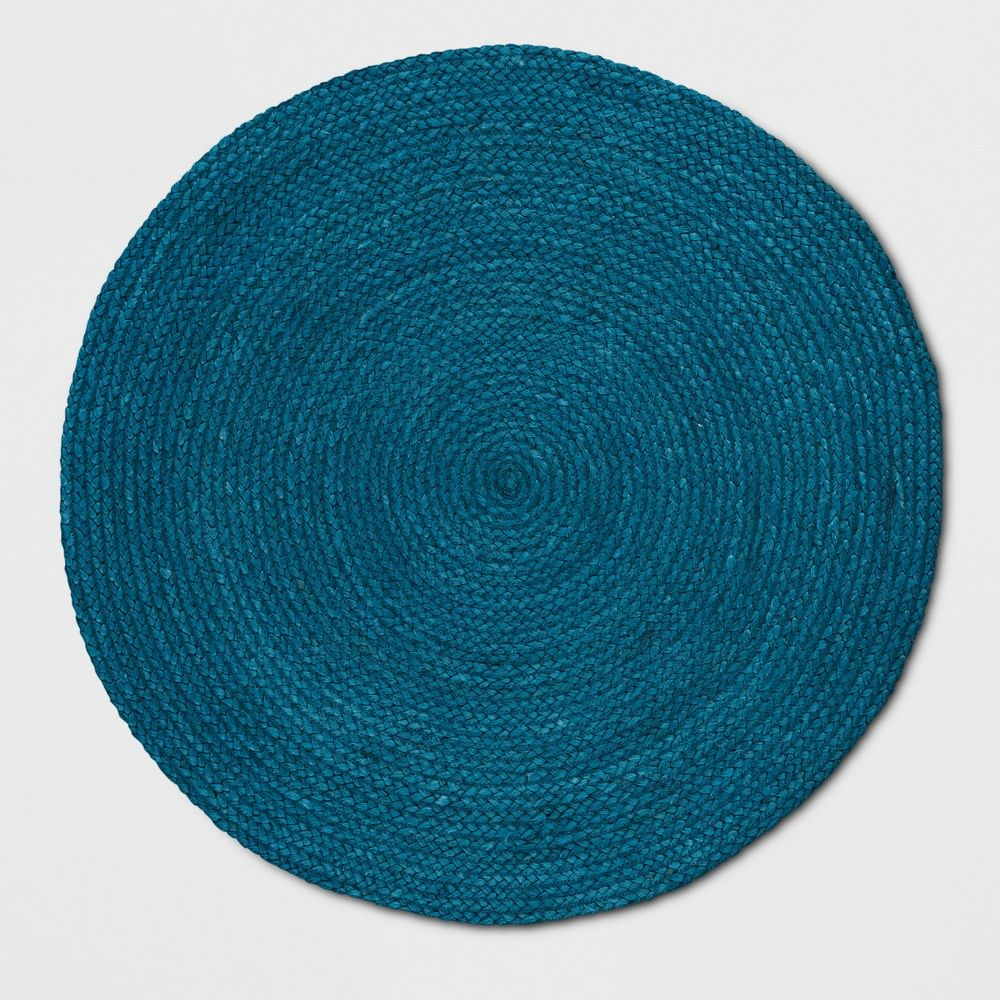 Teal Blue Solid Braided Jute Area Rug 5 Round Opalhouse Wool Area Rugs Round Area Rugs Area Rugs