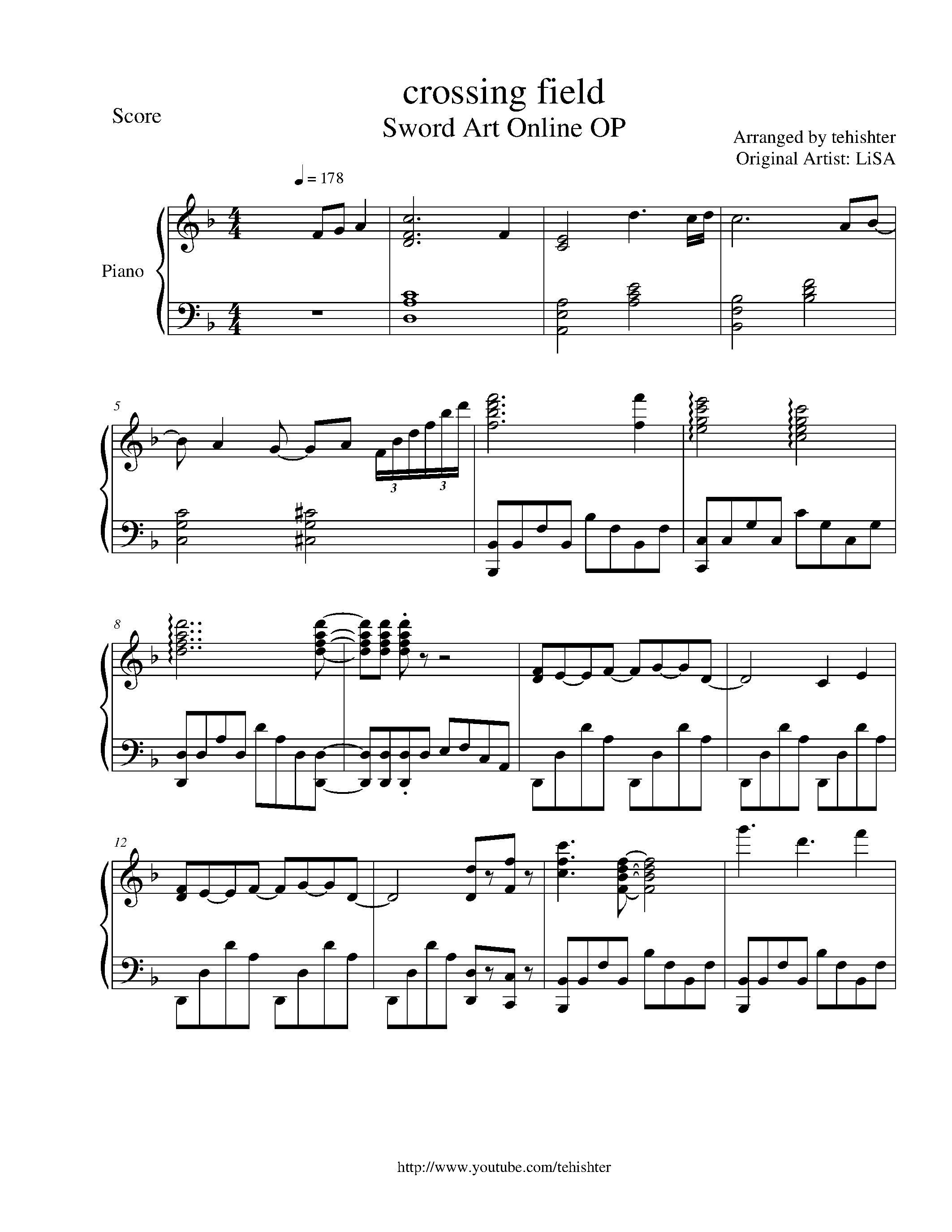 SAO - Crossing Field Piano Sheet Music !!!! <3 | ~Music~ | Pinterest ...