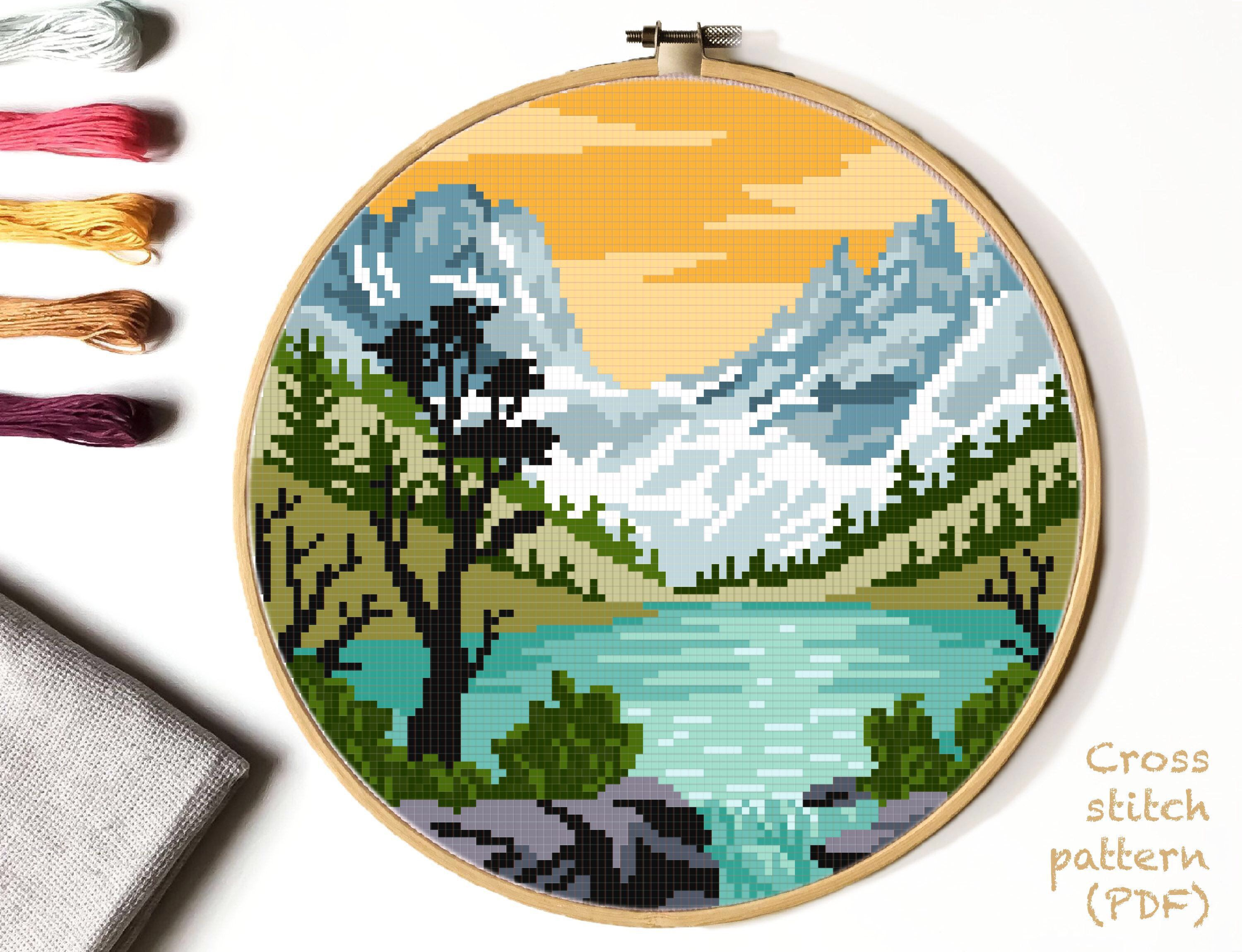 Photo of Rocky Mountain national park Modern Cross Stitch Pattern, nature counted cross stitch chart, landscape, lake, mountains, forest, instant PDF