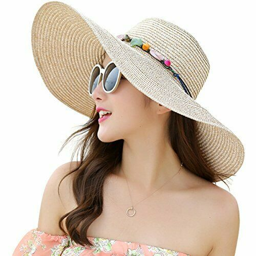 522432d0 Lanzom Womens Wide Brim Straw Hat Floppy Foldable Roll up Cap Beach Sun Hat  UPF #