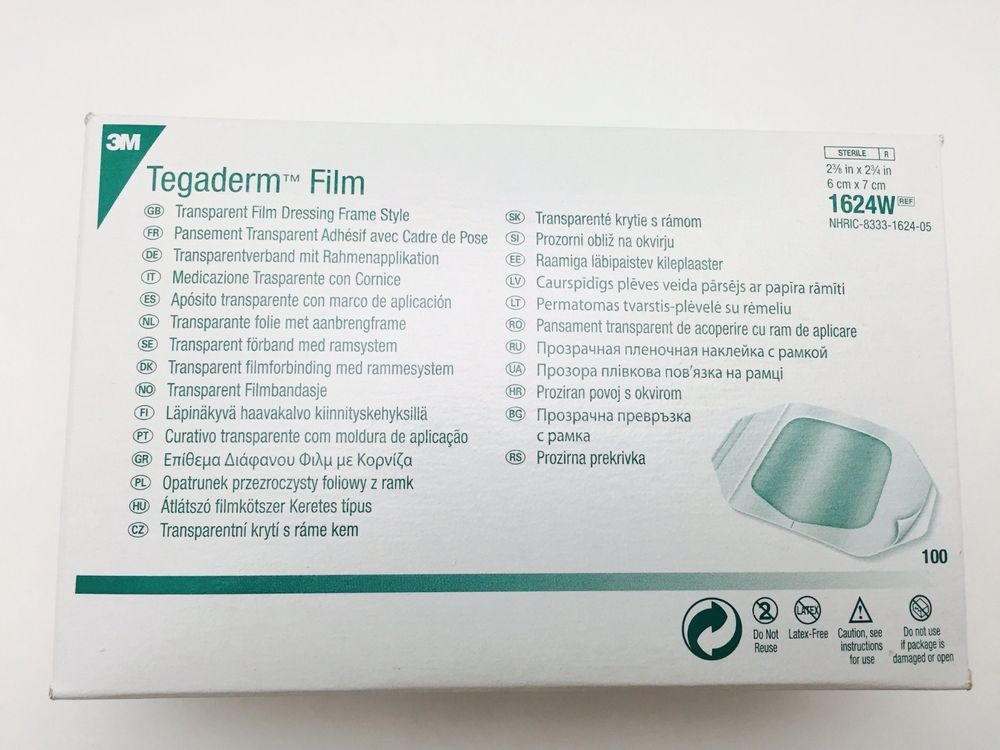 3m Tegaderm 2 38x2 34 Transparent Film 1624w Box Of 100free 1