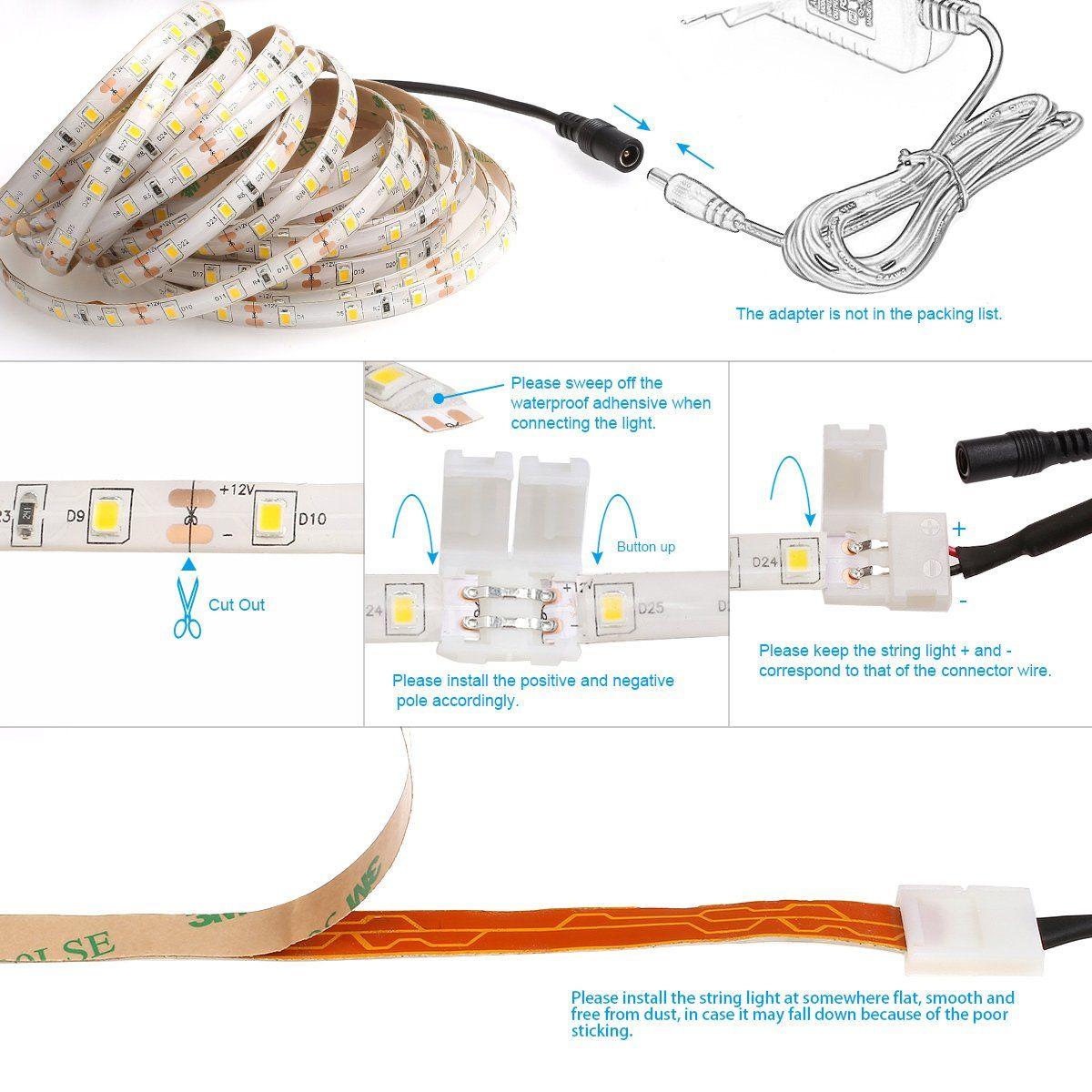 Le 16 4ft Waterproof Flexible Led Light Strip 300 Units Smd 2835 Led 6000k Daylight White Led Tape 12 Led Strip Lighting 12v Led Strip Lights Led Tape Lighting