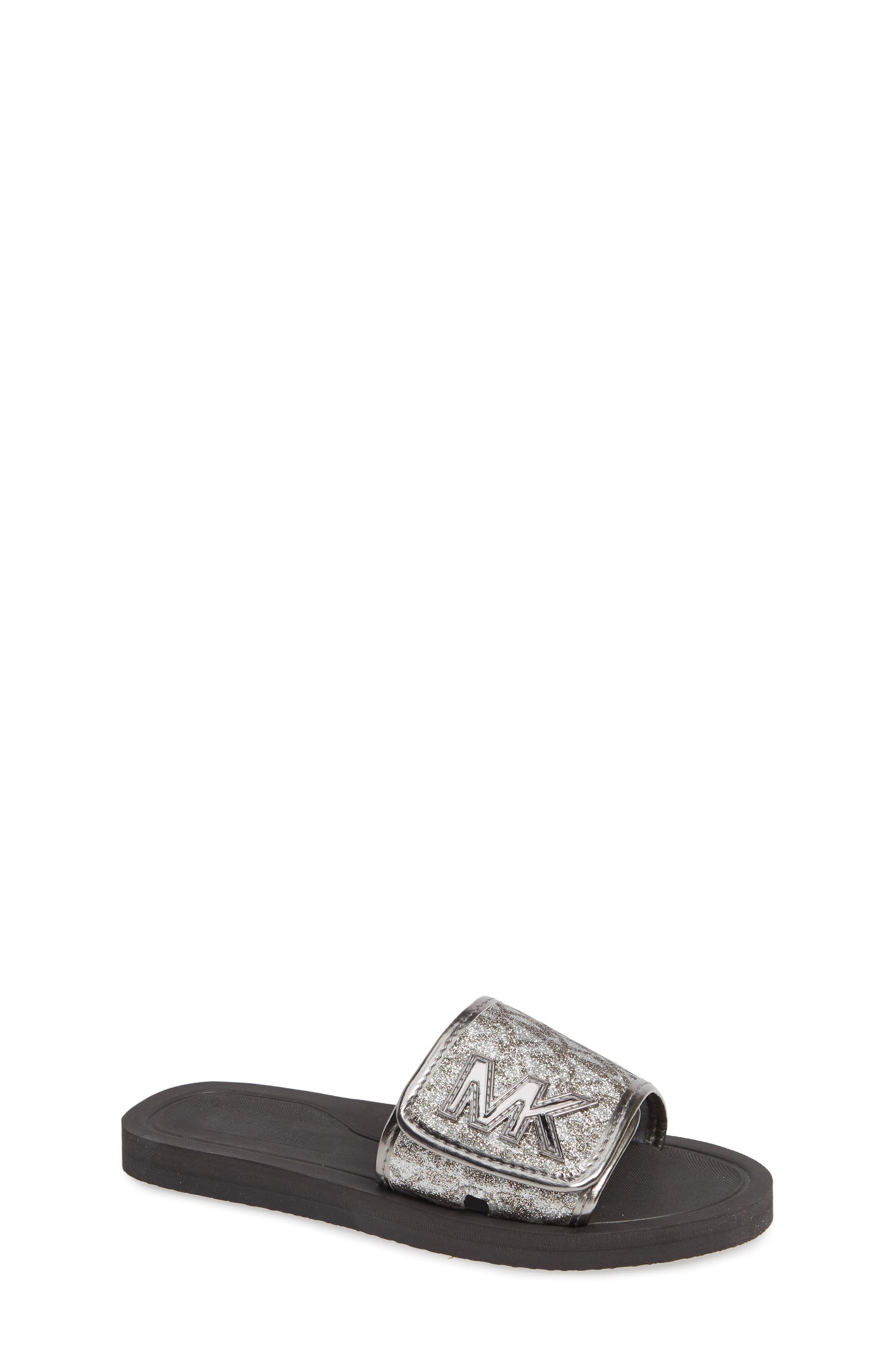 d62837c72cf5 Toddler Girl's Michael Michael Kors Eli Seneca Glitter Slide Sandal, Size  12 M - Metallic