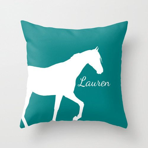Personalized Horse Throw Pillow Cover Teal Decor Home Living Room Bedroom Couch