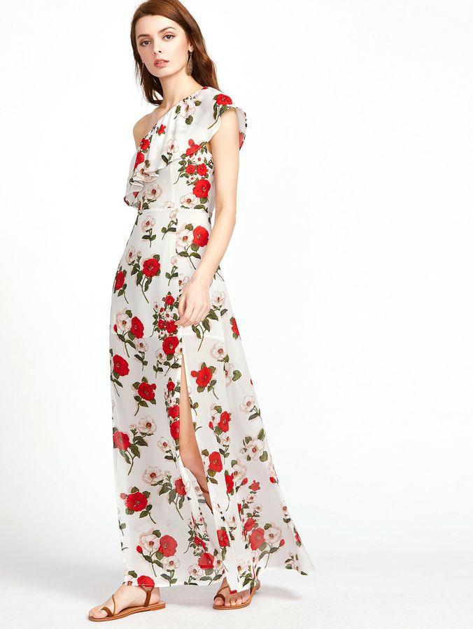 8327528754 Shein Allover Flower Print Ruffle One Shoulder M-Slit Dress ...