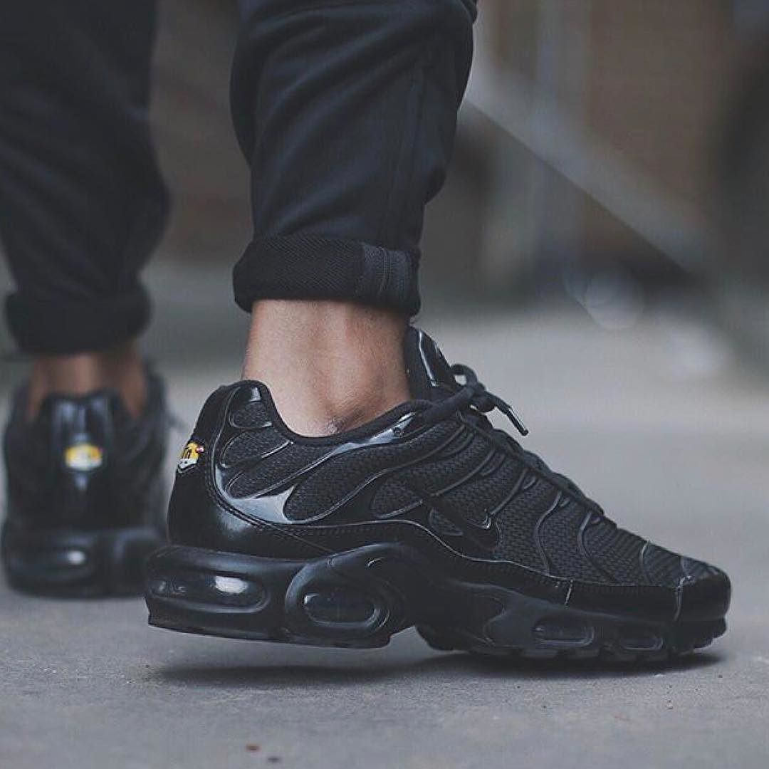 Nike Air Max Plus TN worn by my brudda Dominic !! Can never go wrong with a  pair of all Black AMP's dope CW and silhouette combination !!