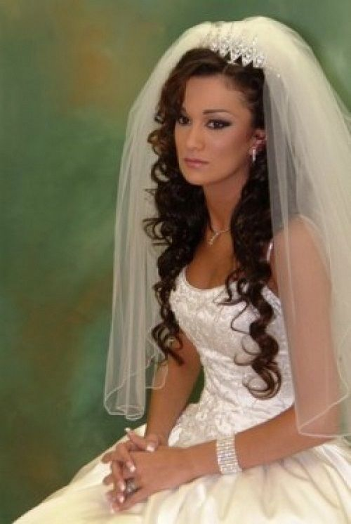 Black Long Curly Wedding Hairstyles With Tiara And Veil Images