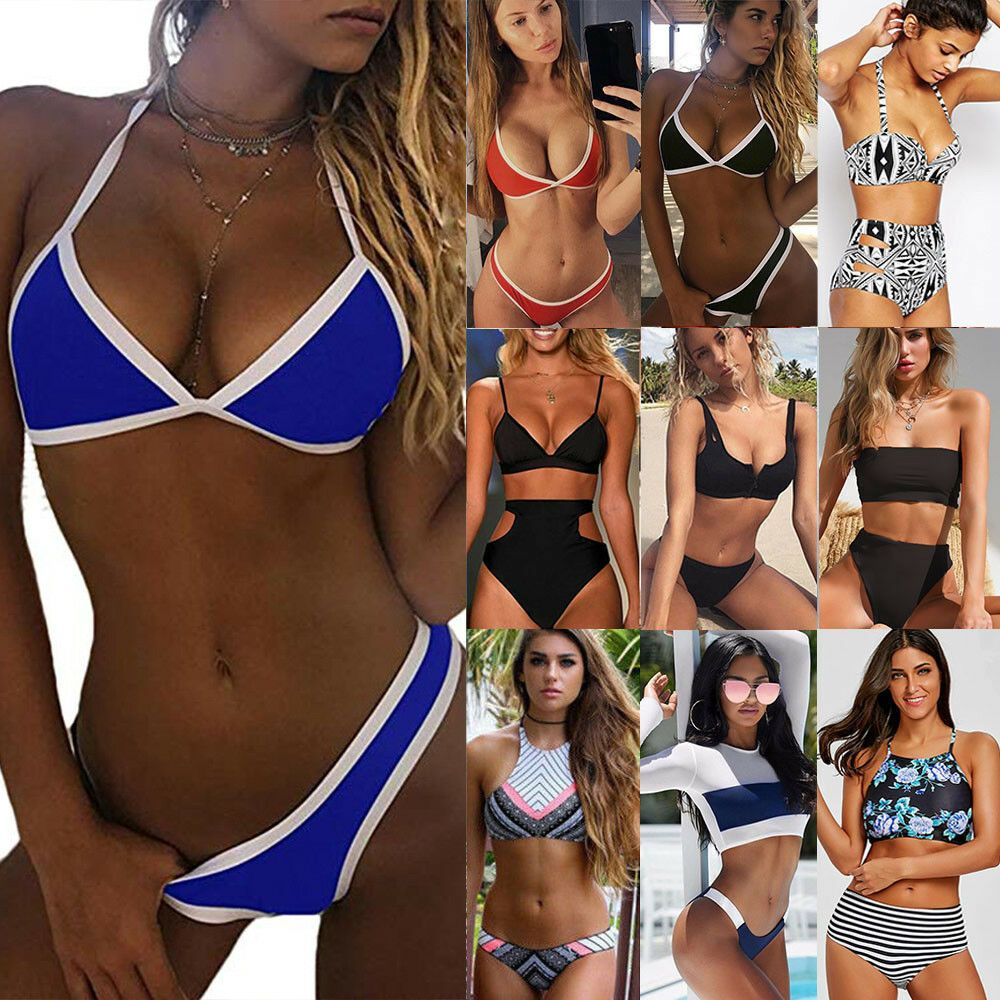 ba16cd01e2cc2 Womens Swimwear Bikini Set push up Bra high waisted Tankini Swimsuit ...