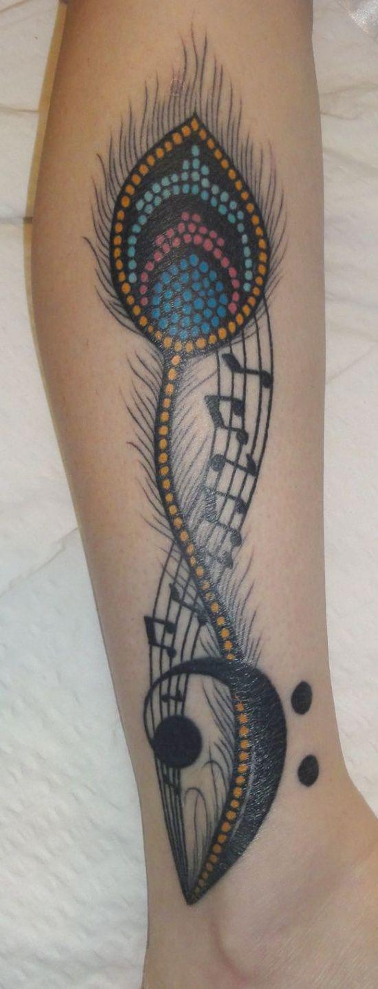 Photo of Feather and music Tattoo – 99tattooideas.com… #tattoo #tattooidea #tattoodesig…