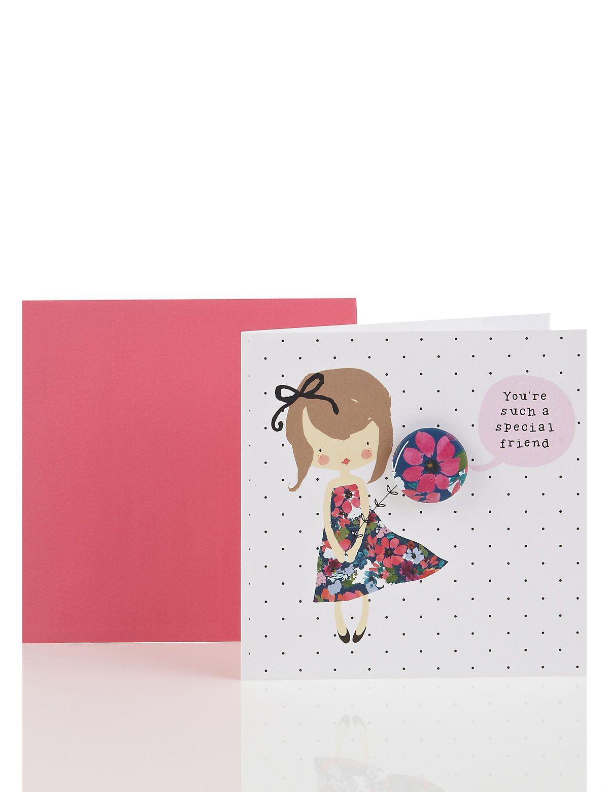 Cute girl special friend birthday card with badge ms