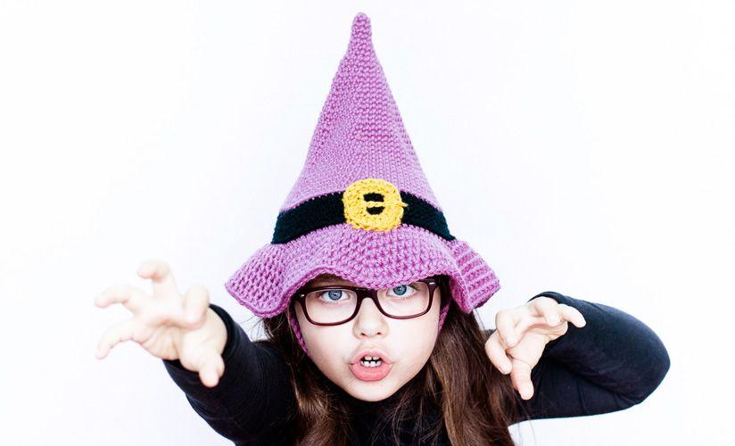 Halloween: Niños Gorro Bruja | Lila claro / Negro #katiayarns ...