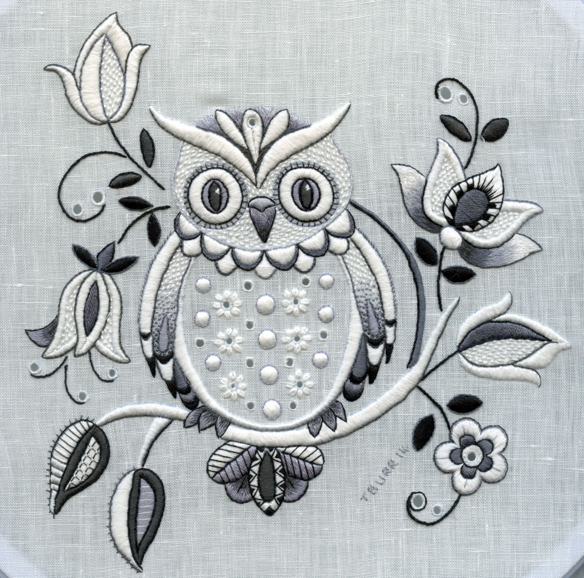 Traditionally whitework is done with white thread on a white moonlit owl stitched in whitework embroidery by trish burr bankloansurffo Image collections