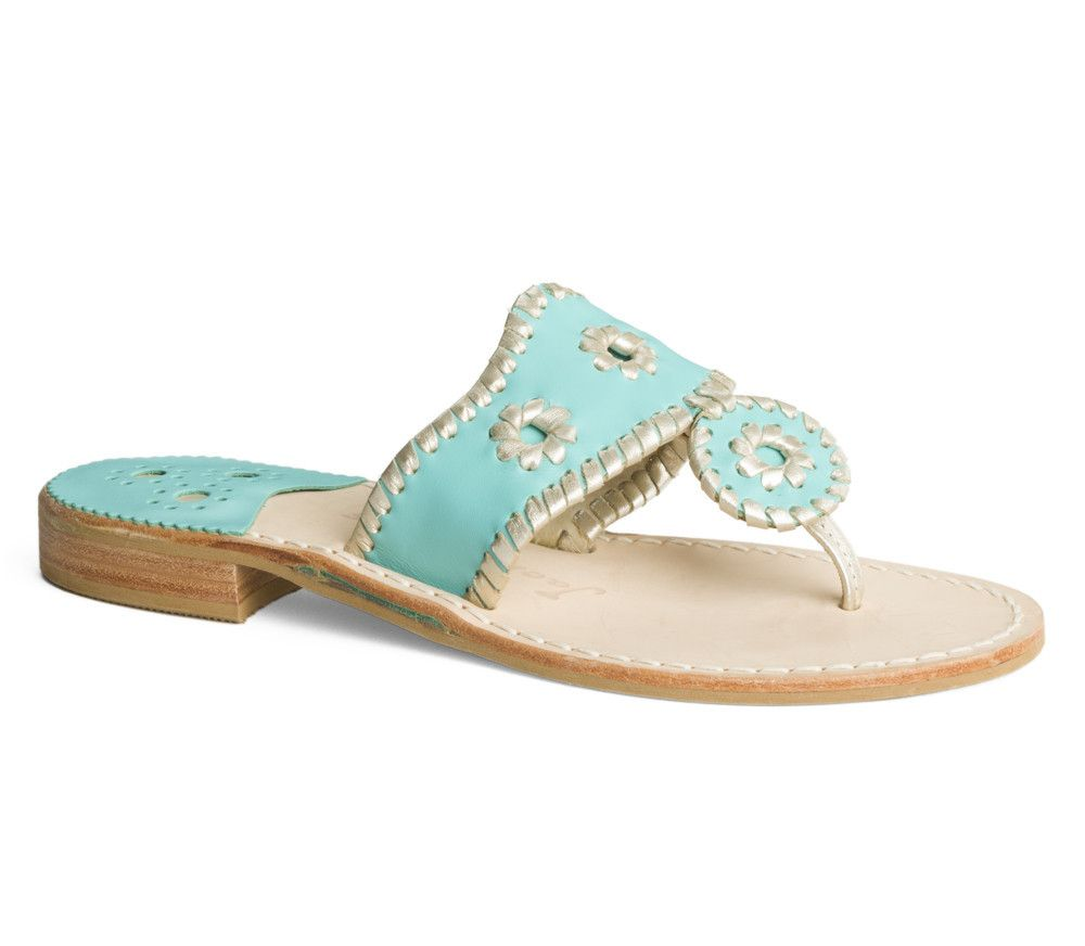 Palm Beach Navajo Sandal in Carribean Blue and Platinum by Jack Rogers