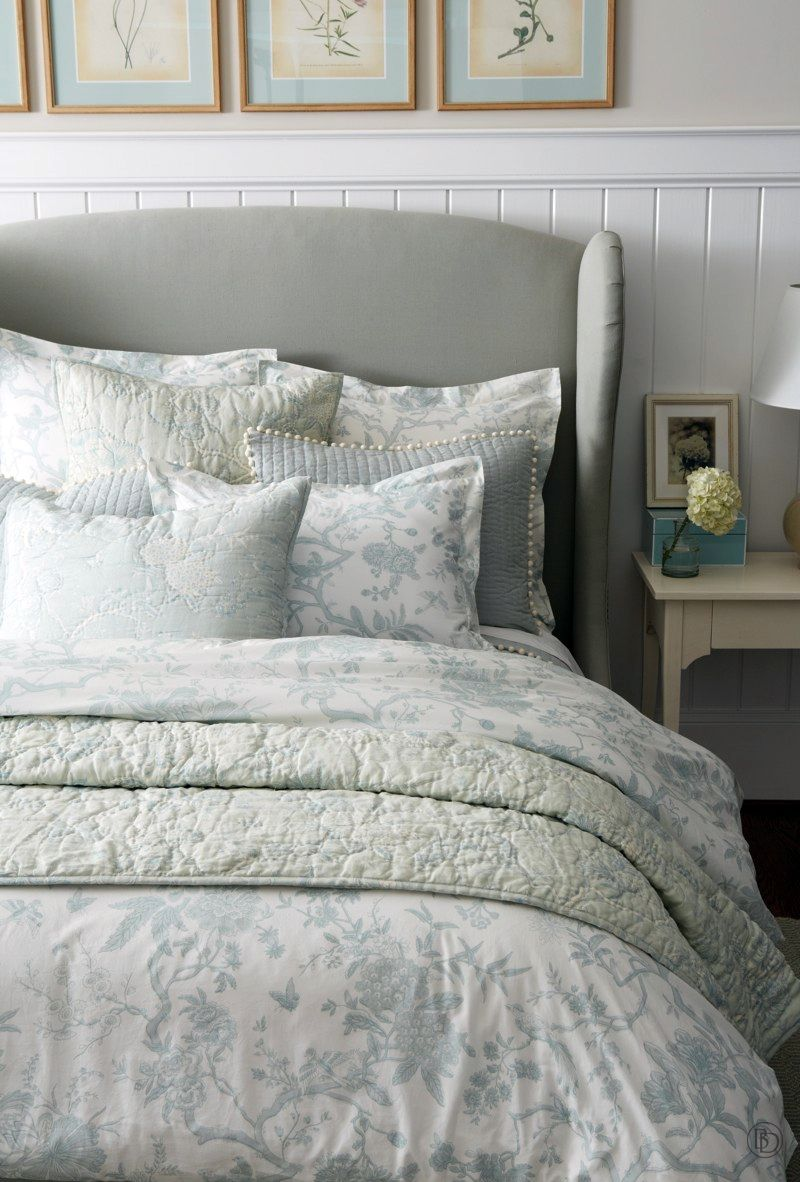 Toile bedding with gray wing headboard Toile