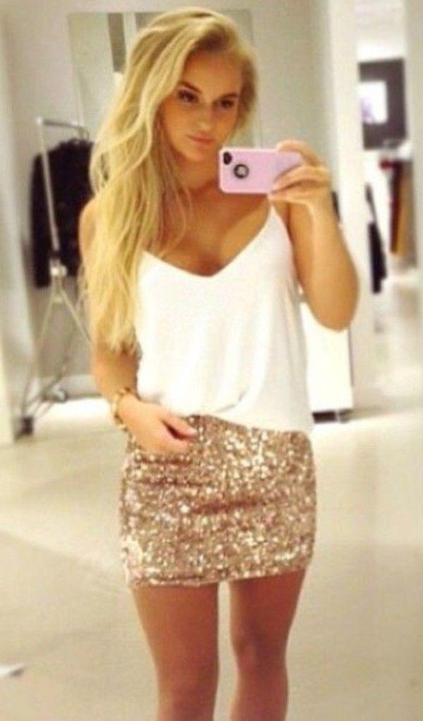 Skirt: sparkly dressy fancy night out clubwear | Fashion