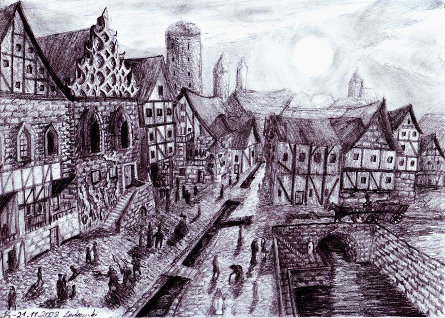 действием картинки средневековый город и его жители которые окрашены один