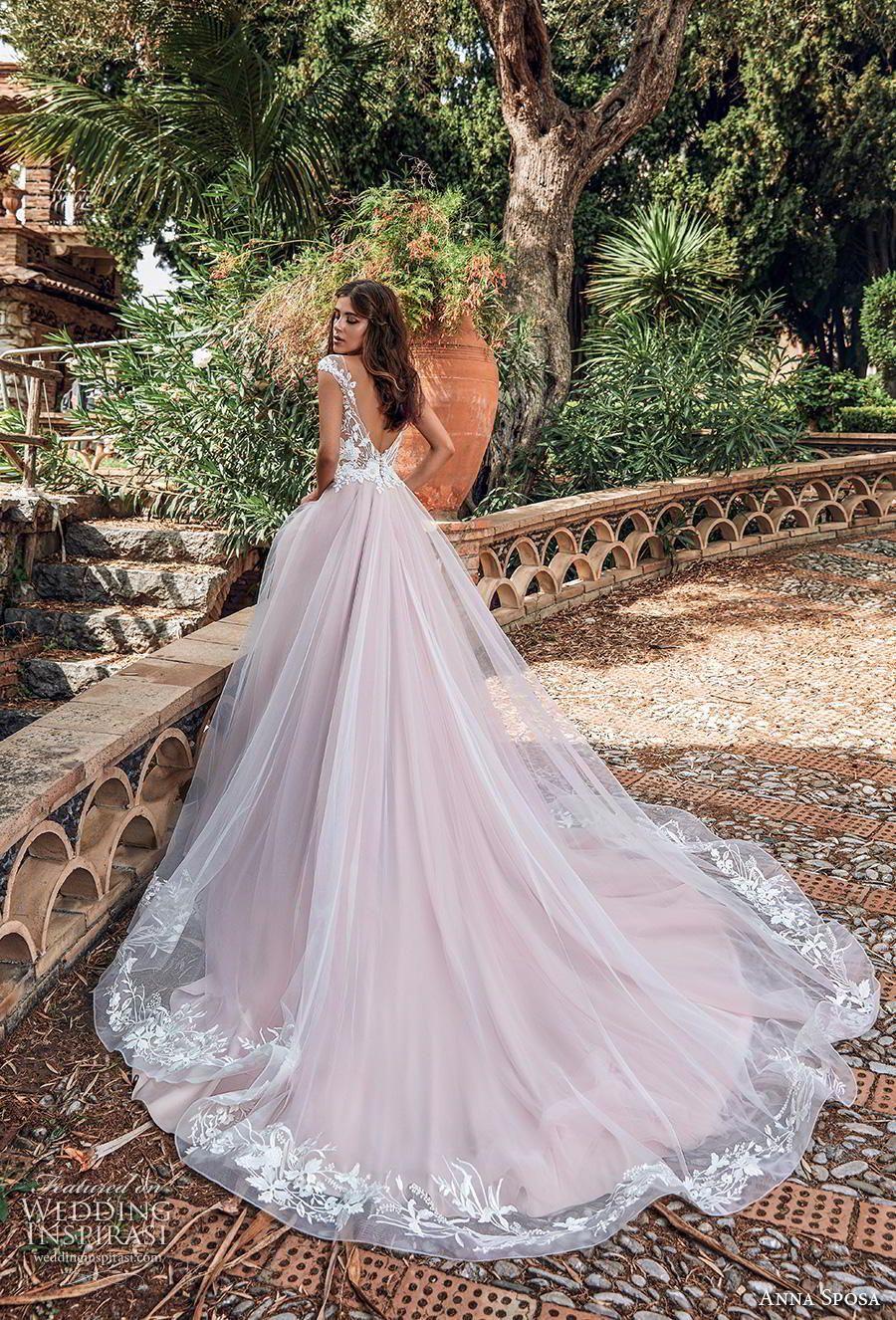 ffb3d79e9d5f anna sposa 2019 bridal cap sleeves illusion bateau neckline heavily  embellished bodice romantic pink blush a line wedding dress backless v back  chapel train ...