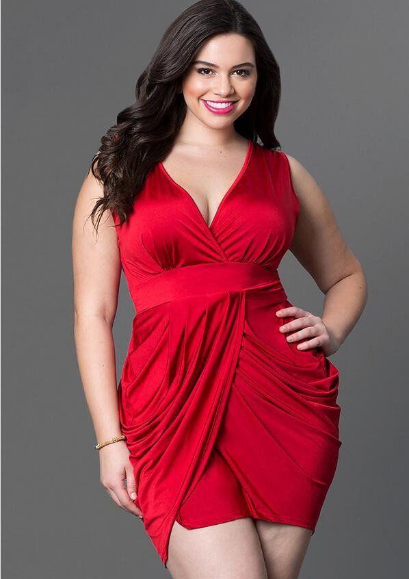 Summer Women Fashion Plus Size Dress Slim V Neck Sleeveless