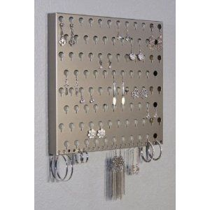 Wall Mounted Earring Storage Rack In Black Too You Could Diy This With Metal Pegboard Unit Jewelry Organization Hanging Jewelry Organizer Jewellery Storage