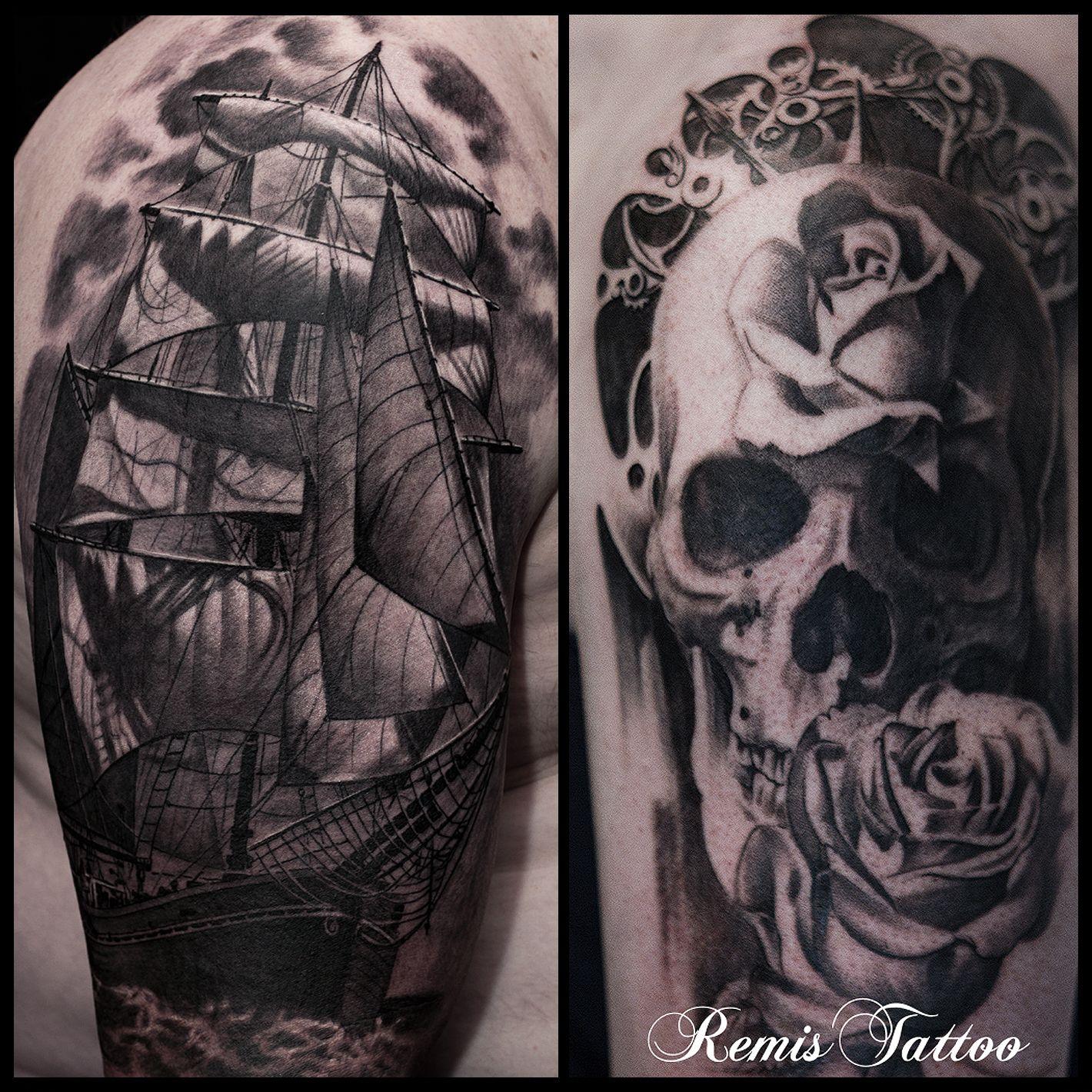 Ship And Skull Tattoo Black And Grey Tattoo By Remis Remistattoo Realism Realistic Tattoo Tattoo Ideas Inspira Tattoos Black And Grey Tattoos Ship Tattoo