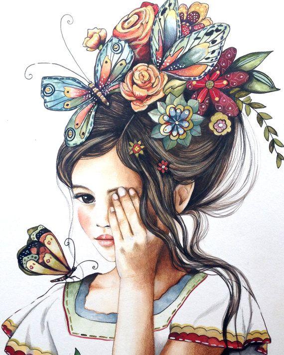 Female empowerment,art print ,drawing, love, portrait artwork ,claudia tremblay flowers in her hair