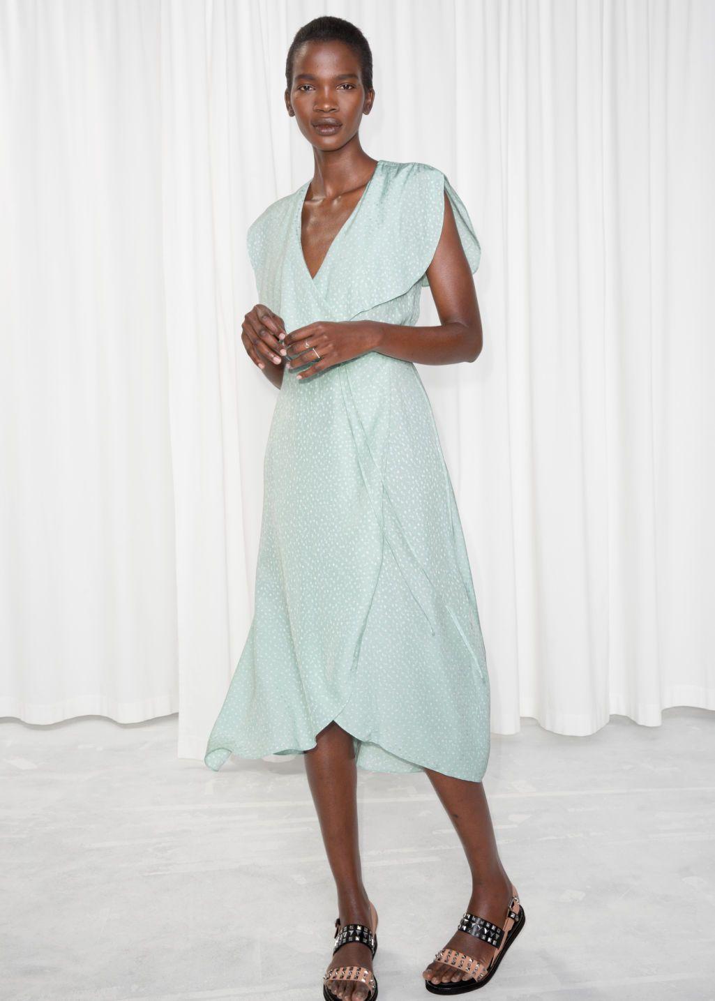 08d7d250ed8 Other Stories - Oversized Lapel Wrap Dress - Mint