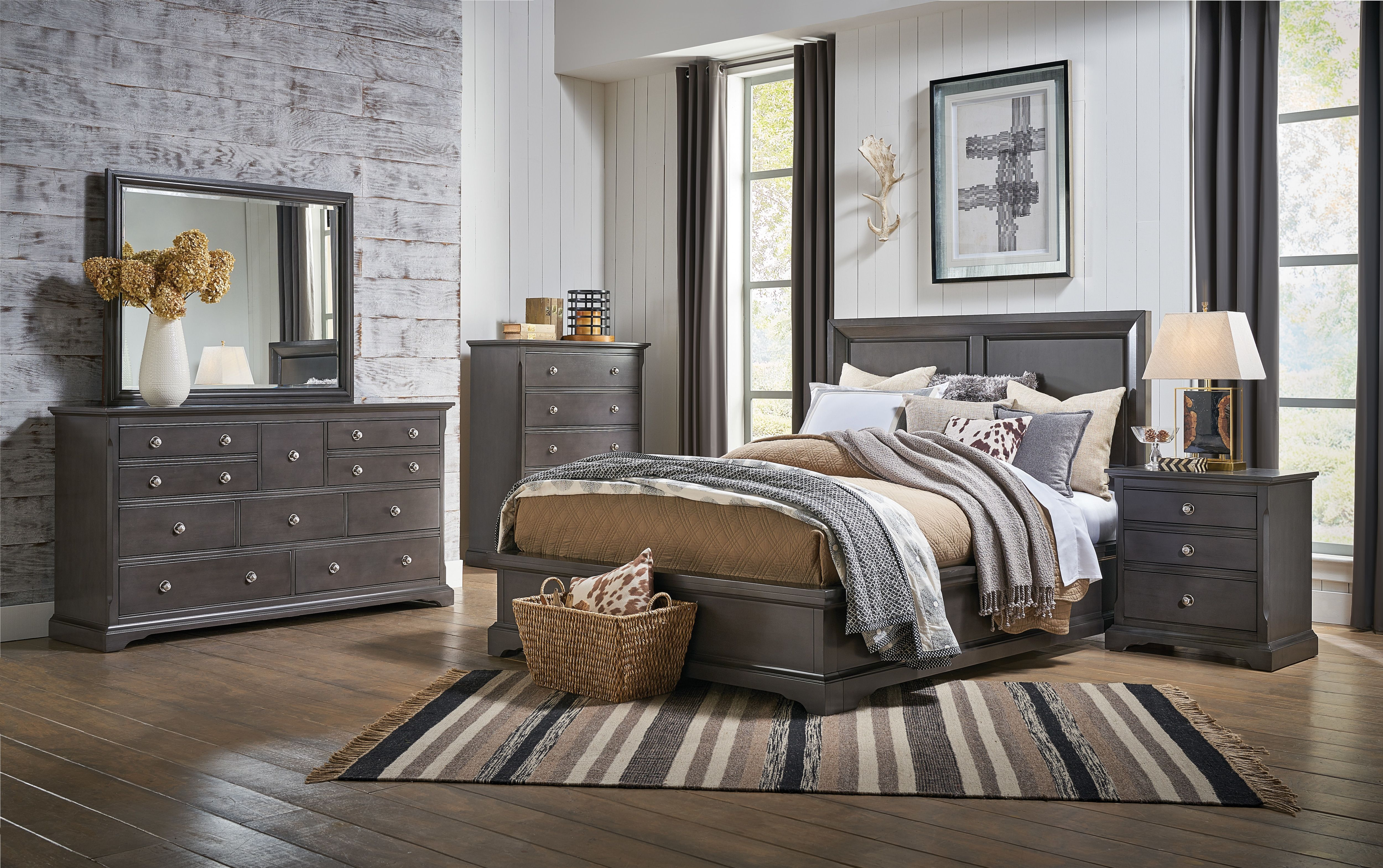 The Georgetown Bedroom Collection Is Finished In A Dark Grey For A Traditional Feel Clean Lines King Bedroom Sets Bedroom Sets Queen Master Bedroom Furniture