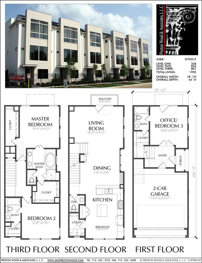 Three Story Townhouse Plan D7033 E Town House Plans House