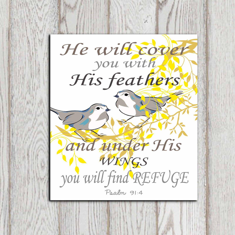 Yellow Christian Scripture Print Bible verse Psalm 91:4 He will ...